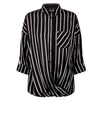 Black Stripe Twist Hem Pocket Front Shirt New Look