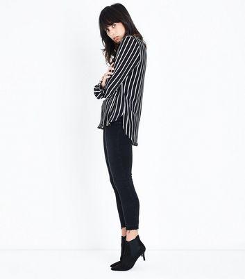 Black Stripe V Neck Shirt New Look
