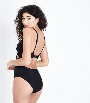 Black Cut Out Wrap Front Swimsuit New Look