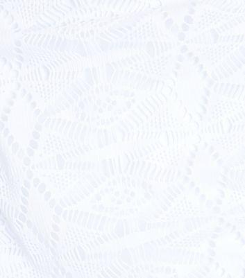 White Crochet Caged High Waist Bikini Bottoms New Look