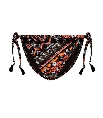 Black Neon Aztec Pattern Pom Pom Bikini Bottoms New Look