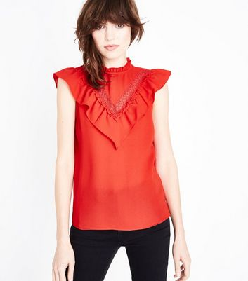 Red Chevron Frill Sleeveless Top New Look