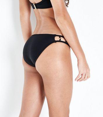 Black Metallic Ring Bikini Bottoms New Look