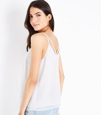 Off White Strappy Back Cami New Look