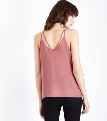 Mid Pink Strappy Back Cami New Look