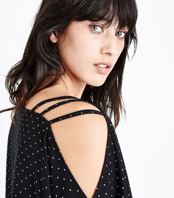 Black Polka Dot Strappy Hanky Hem Top New Look