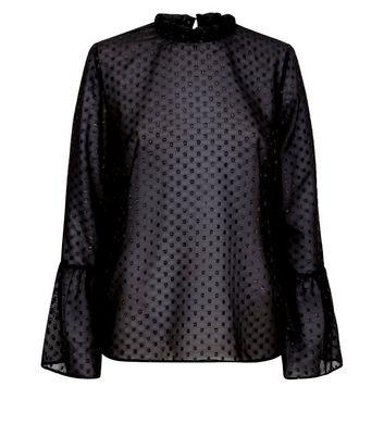 Black Glitter Spot Bell Sleeve Top New Look