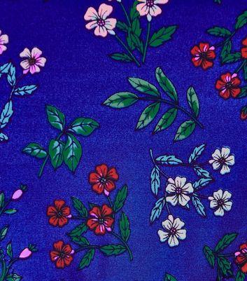 Blue Floral Print Shirred Bandeau Bikini Top New Look