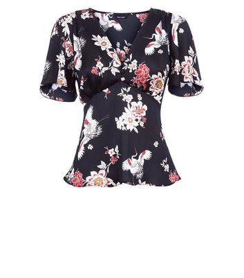 Black Floral Satin Flutter Sleeve Top New Look