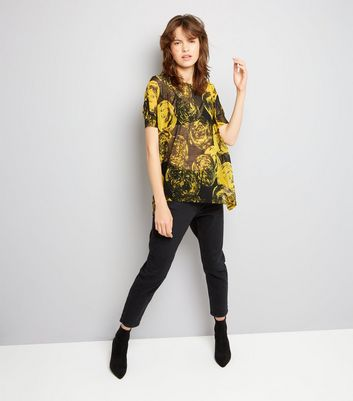 Apricot Yellow Rose Print Mesh Top New Look