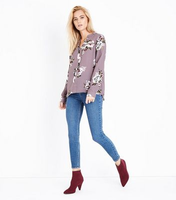 Apricot Pink Floral Print Zip Pocket Top New Look