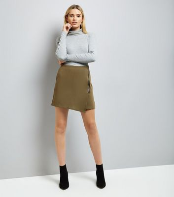 Apricot Olive Green Zip Side Asymmetric Mini Skirt New Look