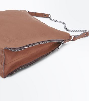 Tan Zip Side Hobo Bag New Look