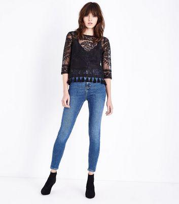 Black Embroidered Mesh Tassel Hem Top New Look