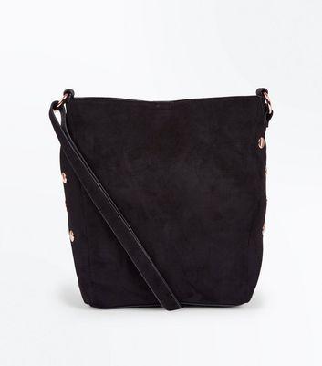 Black Popper Side Bucket Bag New Look