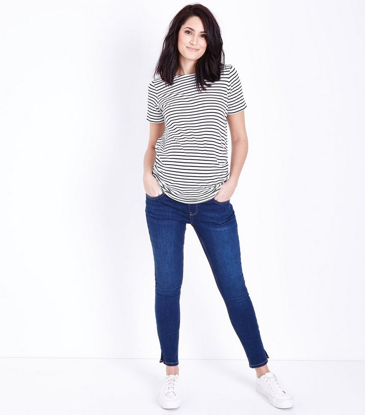 eb818c48e6180 Maternity Blue Rinse Under Bump Skinny Jeans | New Look