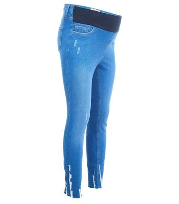 Maternity Bright Blue Fray Hem Under Bump Skinny Jeans New Look