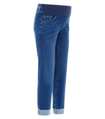 Maternity Blue Turn Up Hem Under Bump Skinny Jeans New Look