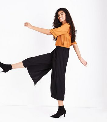 Black Layered Tie Front Cropped Trousers New Look