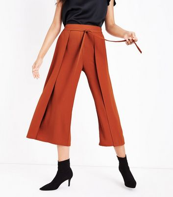 Rust Layered Tie Front Cropped Trousers New Look