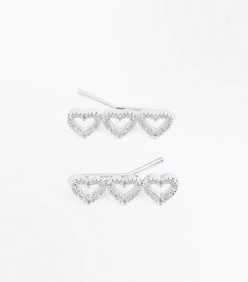 Silver Cubic Zirconia Hair Slides New Look