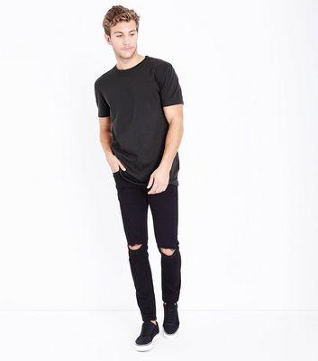 Charcoal Grey Longline T-Shirt New Look