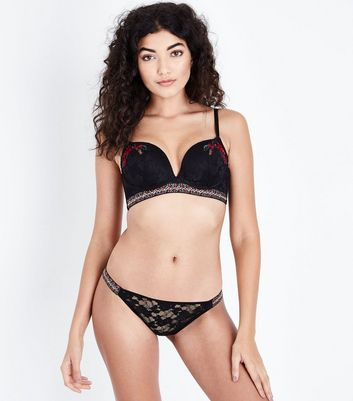 Black Lace Floral Embroidered Longline Bra New Look