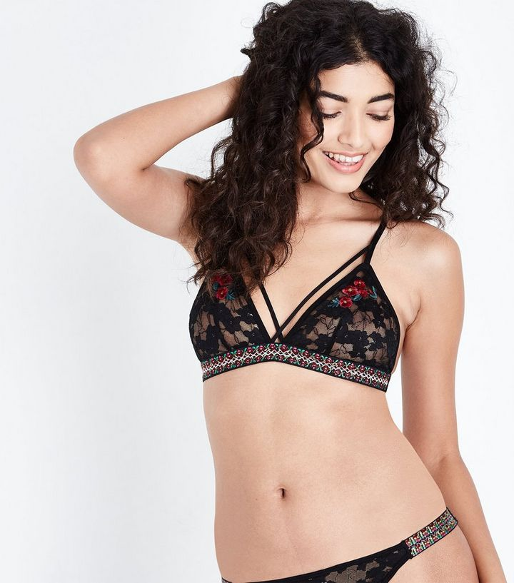 Black Lace Floral Embroidered Bralette  5e81280db
