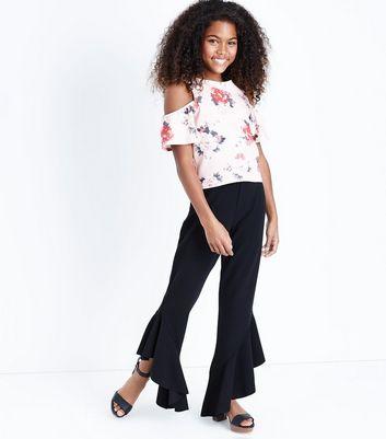 Teens Pink Floral Cold Shoulder Scuba Top New Look