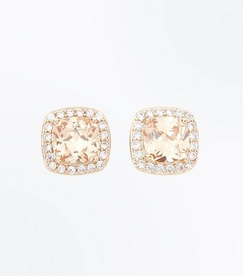Cubic Zirconia Rose Gold Square Stud Earrings New Look