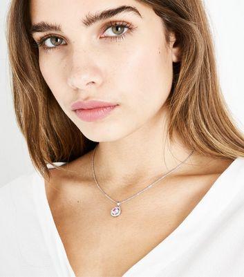 Silver Cubic Zirconia Pink Gem Pendant Necklace New Look