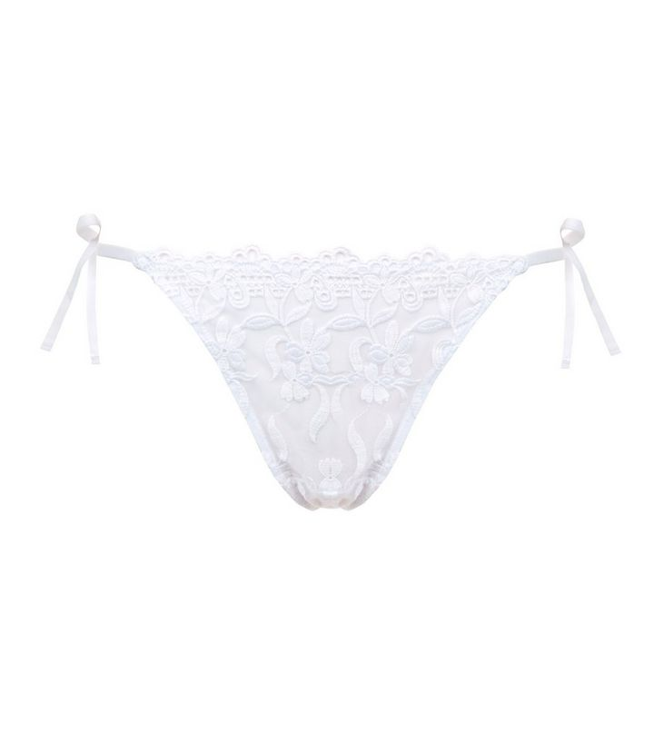 0cbad50d3c5 ... White Lace Floral Embroidered Tie Side Thong. ×. ×. ×. 1