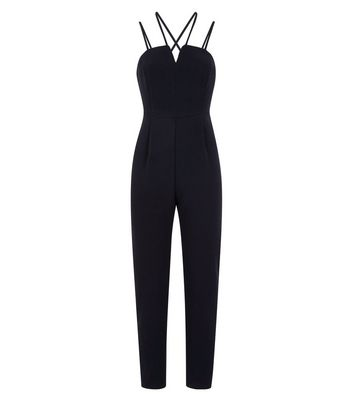 Black Crepe Notch Neck Jumpsuit New Look