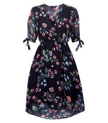 Black Floral Dip Hem Wrap Dress New Look