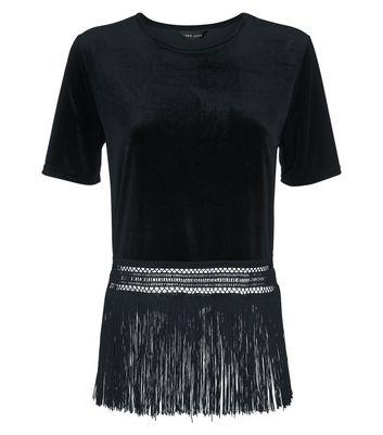 Black Velvet Fringe Hem T-Shirt New Look