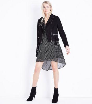 Black Geometric Print Wrap Front Dip Hem Dress New Look