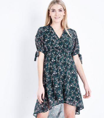 Green Floral Print Dip Hem Mini Dress New Look