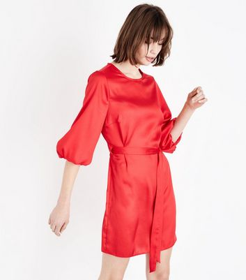 Red Satin Puff Sleeve Belted Tunic Dress New Look