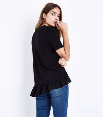 Black Chiffon Peplum Hem T-Shirt New Look