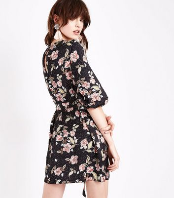 Black Floral Balloon Sleeve Tunic Dress New Look