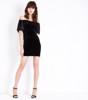 Black Velvet Burnout Sleeve Bodycon Dress New Look