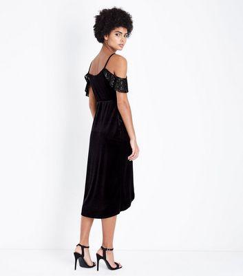 Black Velvet Cold Shoulder Dress New Look