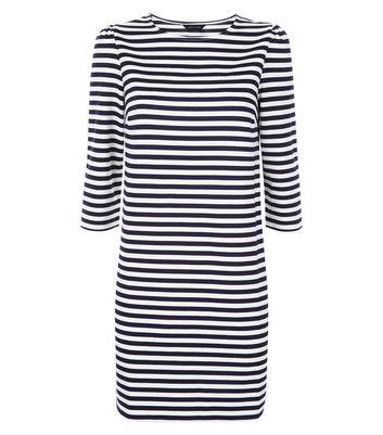 Blue Stripe Puff Sleeve Jumper Dress New Look