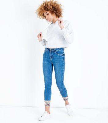 Blue Patterned Hem Skinny Jenna Jeans New Look