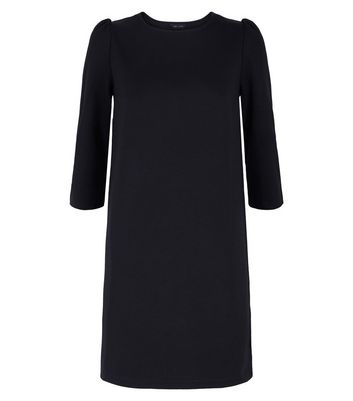 Black Puff Sleeve Jersey Tunic Dress New Look