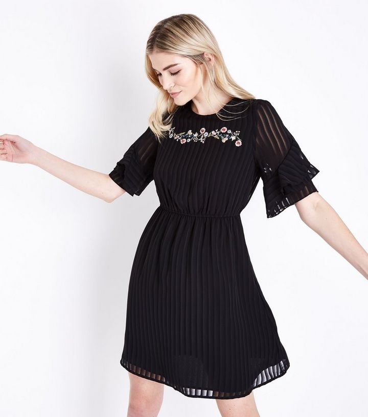 66a575303f0 Black Embroidered Stripe Chiffon Frill Sleeve Dress