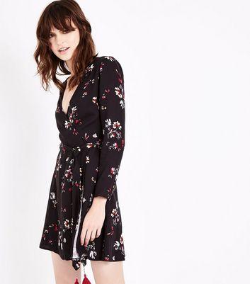 Black Floral Tassle Trim Wrap Dress New Look