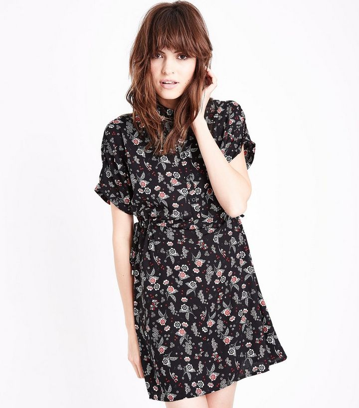 6f89a909616 Black Floral Tie Side Shirt Dress | New Look