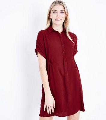 Burgundy Drawstring Side Shirt Dress New Look