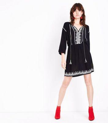 Black Embroidered Tassel Tie Smock Dress New Look